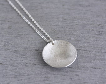 Sterling Silver Reversible Necklace, Two Sided Circle Necklace, Round Silver Necklace, Silver Circle Pendant handmade in Sydney : SciNlHD