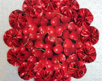 Vibrant Red Cherries Yo Yo Doily