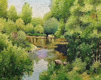 Bend in the River an Original Impressionist style Impasto oil painting 16x20.