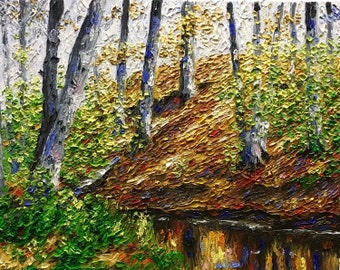 """Original Impressionist style Impasto oil painting """"Down to the River"""" 11x14"""