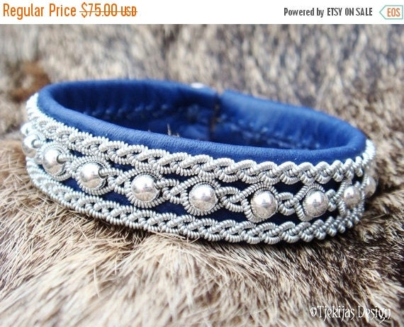 Swedish Blue Leather Cuff Bracelet YDUN Nordic Spirit Custom Handmade Sami Lapland Bracelet with Sterling Silver Beads - Tribal Elegance