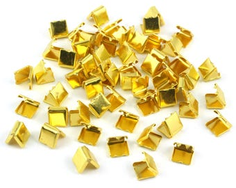 300 Pieces 6*6mm Gold Flat Ribbon Clamp End Crimp [1/4 inch] (J-EC6)