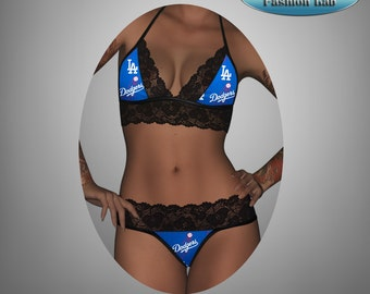 Sexy handmade with MLB LA Dodgers fabric with black scallped lace accent top with matching G string panty lingerie set