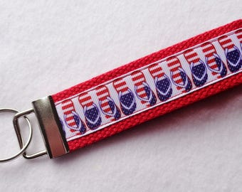 Key Fob/ Wristlet/ Keychain /Red White and Blue Flip Flops print  /Ready to Ship