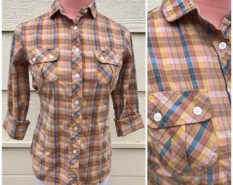 CLEARANCE - Brown taupe and blue plaid 80s western cotton shirt size medium