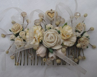 Hair comb cream roses rosebuds tulips carnations beads ribbons heart antique bronze bridal prom