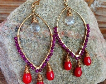 Coco. Hammered Artisan Boho Gold Brass Chandelier Drop Earrings with Wire Wrapped Red Coral, Purple Jade, and Crystal Quartz Gemstones-Gypsy