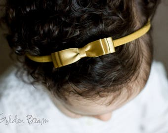 Little Gold Baby Headband - Flower Girl Headband - Little ELLA Gold Satin Bow Handmade Headband - Baby to Adult Headband