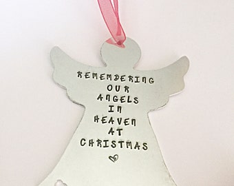 Memorial Ornaments, Angel Ornament, Christmas Ornament, Christmas Tree Decoration, Hand Stamped Tree Ornament, Christmas Decoration