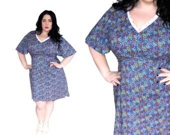 Plus Size Dress / Vintage 1960's Floral Mini Dress / Size 1X / Vintage Dress