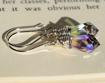 Crystal Paradise Earrings, Swarovski Earrings, Multicolor Earrings, Silver Wire Wrapped Briolette Earrings, Green Purple Blue Crystal