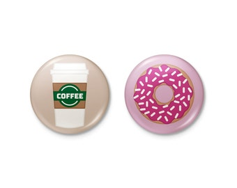 Coffee & Donuts Pinback or Magnet Button Set | coffee donut starbucks