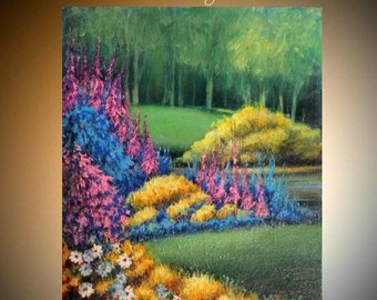 """SALE Original Oil Acrylic gallery canvas abstract Landscape Modern palette knife """"Paradise Gardens""""  oil painting by Nicolette Vaughan Horne"""