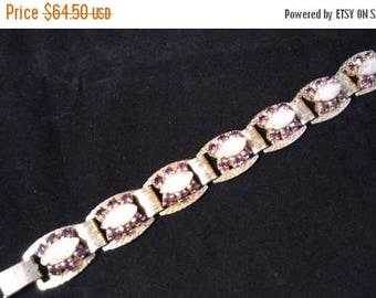 Now On Sale Purple Rhinestone Bracelet, High End Rare Vintage Jewelry, 1950's 1960's Old Hollywood Glamour
