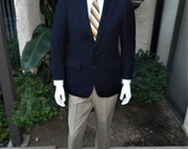 Vintage 1980's Hardy Amies Navy Blue Suit Coat - Size 38/39