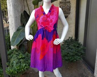 Vintage 1960's Lilia Psychedlic Print Dress  - Size 10