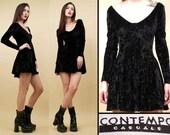 80s 90s Vtg Black Velvet BUSTIER Micro Mini Dress / CONTEMPO CASUAL Grunge Goth Skater Long Sleeve / Xs Sm
