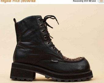 20% OFF 1DAY SALE 90s Vtg Black Genuine Leather & Fuzzy Leopard Lace Up Ankle Boots / Chunky Platform Grunge Punk Biker 7 Eu 37.5 37
