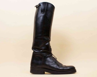 50s  Vtg rare Black Genuine Leather Motorcycle Biker EQUESTRIAN Knee High Riding Field Boots / Goth BDSM Tom of Finland Mens 8 8.5 Eu 42