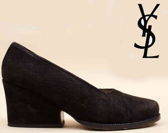 80s 90s Vtg Yves Saint Laurent YSL Black Genuine Suede Leather Sculptural Wedge High Heels / Modern Minimalist 6.5 Eu 37