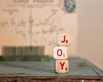 Vintage Wood Letter Cubes Word JOY