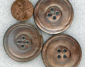 3 Huge Vintage Iridescent Carved Mother of Pearl Smoky Oyster Shell Coat Buttons 1-7/16 inch 37mm - Set of Sewing Buttons