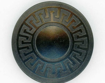 Antique Black Vegetable Ivory Coat Button ~ just over 7/8 inch 23mm ~ Pressed Greek Key Border Pattern ~ Tagua Nut Sewing Button