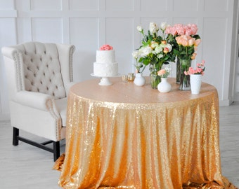 "Gold Sequin Tablecloth Table Cover for rectangle or round tables - 90"" x 132"""