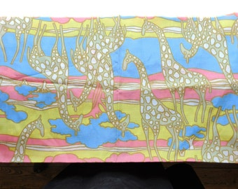 2 Yds  Vintage Mid Century Modern Fabric - Giraffe