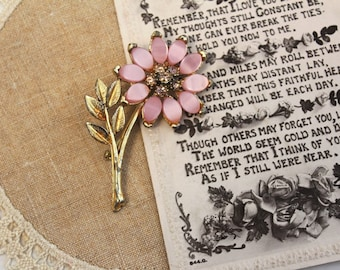 Vintage - Gold - Pink - Floral - Brooch - Antique -  Heirloom - Pin