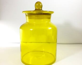 Vintage Yellow Glass Canister