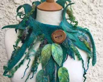 Pixie leaf cowl-Woodland cowl-  Cowl- scarf-Woodland Felted Cowl --Felt collar-leaf necklace-scarf-neck warmer-mermaid
