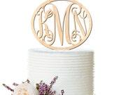 Personalized Monogram Wedding Cake Topper - Initials Cake Topper - Monogram Wedding Cake Topper - Peachwik - PT0041