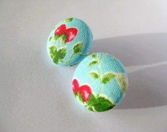 Fabric covered button earrings with a strawberry pattern in turquoise, green and pink/red