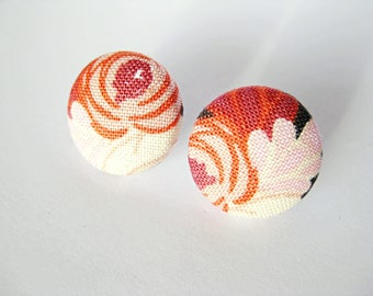 Fabric covered button earrings in light pink, rust, beige and dark grey
