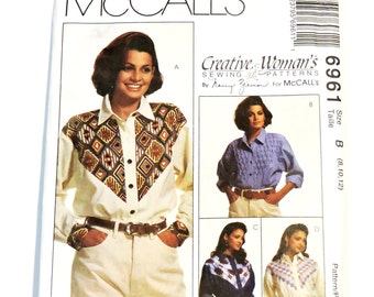 Nancy Zieman McCalls 6961 Shirt Sewing Pattern,Western Cowgirl Long Sleeve Blouse w/Yoke Variations,Misses Size 8/10/12 Uncut itsyourcountry