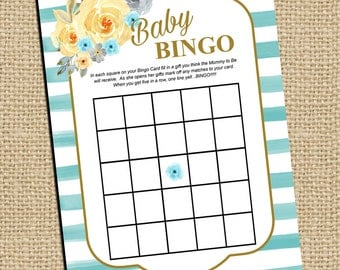 Baby Shower Game Bingo - Watercolor Flower Baby Shower - It's a Boy Shower - Gold Teal Peach - Rustic Shabby Single Printable Games