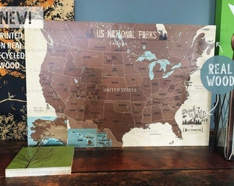 National Parks, Printed on Real Wood, Mountain climber, 16X24, Wood Anniversary, National parks of America, Rustic wedding decor