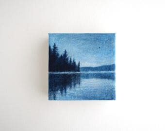 Adirondack Lake Painting - 4 x 4 - Lake House Decor