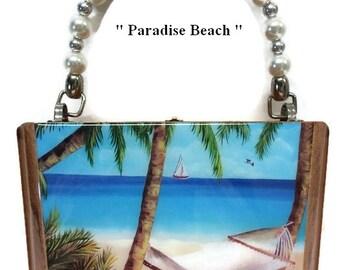 "Fine Art, Cigar Box Purse w/ ""Paradise Beach"" painting on top. Five Handbags to Choose"