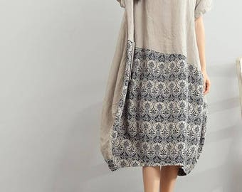 Summer long large size Linen dress loose round neck short sleeve dress