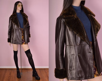 90s Brown Faux Leather Faux Fur Trim Coat/ Small/ 1990s/ Jacket