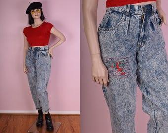 80s Love Me Do High Waisted Acid Wash Jeans/ 29 Waist/ Stone Wash/ Mom Jeans