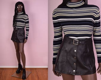 90s Ribbed Striped Turtleneck Sweater/ Small-Medium/ 1990s/ Long Sleeve