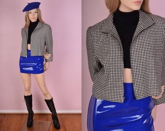 90s Black and White Houndstooth Jacket/ Small/ 1990s