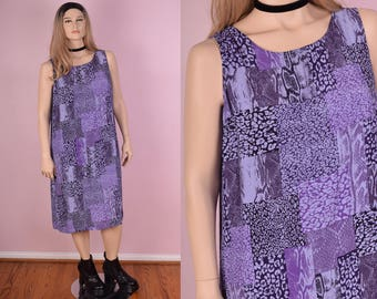 90s Animal Print Dress/ Large/ 1990s/ Tank/ Sleeveless