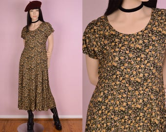 80s Floral Print Dress/ US 9-10/ 1990s