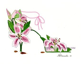 Stargazer Lily with Ankle Chain Flower Shoe 2007 rev. 2016 - Signed and Enhanced with Paint- Wall Art