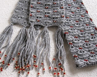 Grey beaded scarf.  Gray crochet scarf with red and silver beads for women.