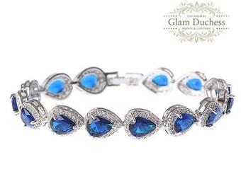 Bridal bracelet, Wedding bracelet, bridal jewelry, bridesmaid bracelet, Sapphire blue Cubic zircon Crystal bracelet, bridesmaid jewelry
